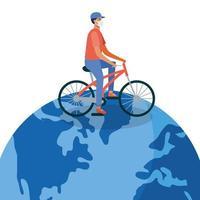 Hombre con máscara médica con bicicleta en diseño vectorial mundial vector
