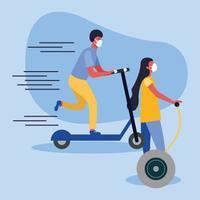 Mujer y hombre con máscara médica en scooter y diseño vectorial hoverboard