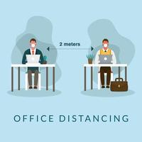 Office distancing between men with masks on desks vector design