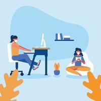 distanciamiento de oficina entre mujeres con máscaras vector