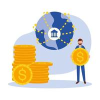 man avatar with coins and bank vector design