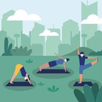 women with masks doing yoga at park vector design