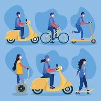 Women and men with masks on hoverboard scooter bike and motorcycle vector design