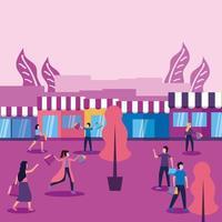 mujeres y hombres con máscaras, bolsos y tiendas de diseño vectorial