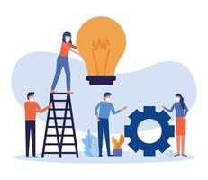 Women and men with masks, light bulb, and ladder vector design