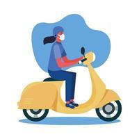 Mujer con máscara médica en motocicleta diseño vectorial