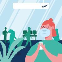 Woman with mask at airport vector design
