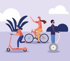 Mujeres y hombres con máscaras en scooter hoverboard y diseño vectorial de bicicleta