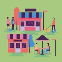 tiendas y personas en el diseño del vector del parque