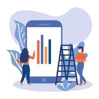 mujer y hombre con máscara, escalera e infografía en el diseño de vectores de teléfonos inteligentes