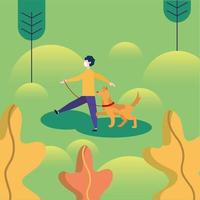 Man with medical mask and dog at park vector design