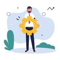 avatar de empresario con diseño de vector de engranaje