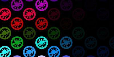 Fondo de vector multicolor oscuro con símbolos covid-19.
