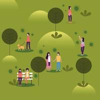 Mujeres y hombres con máscaras en el diseño del vector del parque