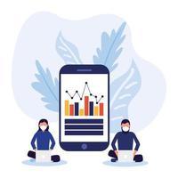 Mujer y hombre con máscara de portátiles e infografía sobre diseño vectorial de smartphone