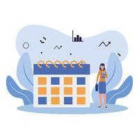 avatar de mujer con diseño de vector de calendario
