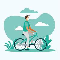 Hombre con máscara médica en diseño vectorial de bicicleta