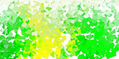 textura de vector verde claro, amarillo con formas de memphis.