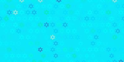 Fondo de vector azul claro, verde con símbolos de virus.