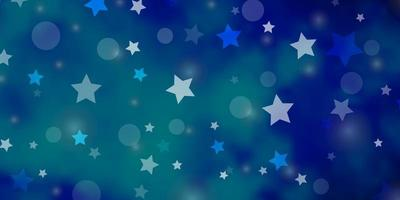 Light BLUE vector backdrop with circles, stars.