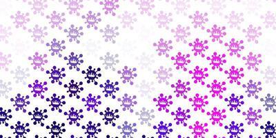 Telón de fondo de vector violeta claro con símbolos de virus.