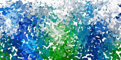 Telón de fondo de vector azul claro, verde con formas caóticas.