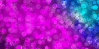patrón de vector rosa claro, azul con esferas.
