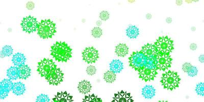 patrón de vector azul claro, verde con copos de nieve de colores.