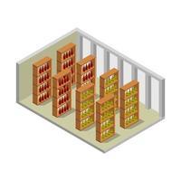 Wine Cellar Isometric Illustrator On White Background
