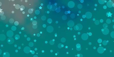 Telón de fondo de vector azul claro con círculos, estrellas.