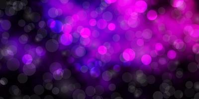 Dark Purple vector texture with circles.