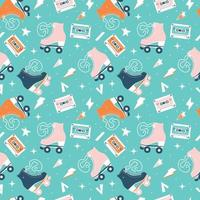 Seamless pattern with roller skates and cassette tapes vector