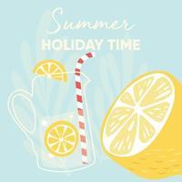 diseño de frutas con lema de tipografía de vacaciones de verano y fruta de limón fresco vector