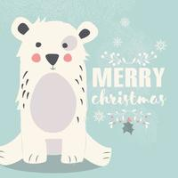 Cute polar bear on blue background and Merry Christmas lettering vector