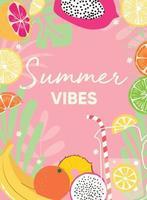 diseño de frutas con lema de tipografía de vibraciones de verano y fruta fresca y limonada vector