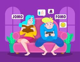 fomo vs jomo ilustraciones