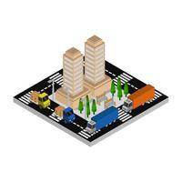 ciudad isométrica ilustrada sobre fondo blanco vector
