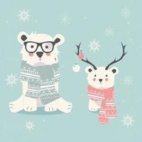 postal de feliz navidad con dos osos polares, hipster y cachorro vector