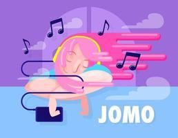 Ilustración del concepto de jomo, mujer escuchando música.