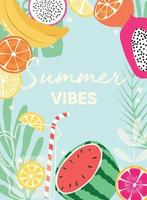 Fruit design with summer vibes typography slogan and fresh fruit and lemonade vector