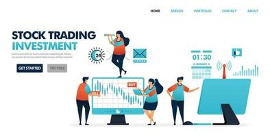 Stock trading is investment products. Return of invetment profits in stock dividend. Easy invest with mutual funds. Apps for commodity and money market. Illustration for website, mobile apps, poster