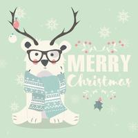 Merry Christmas postcard, hipster polar bear wearing glasses and antlers vector
