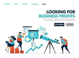Looking for profit in company business. See opportunity for smart business. Looking at development and cooperation in business. Predict future in a career. Illustration for website, mobile app, poster