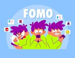 FOMO Cartoon illustration, Fear of missing out vector
