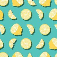 Fruit seamless pattern, lemons with shadow on bright green background vector