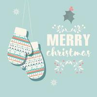 Merry Christmas postcard with mittens and decoration vector
