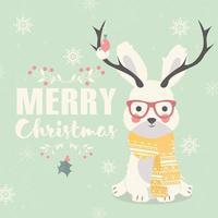 Merry Christmas postcard, hipster polar rabbit wearing glasses and antlers vector