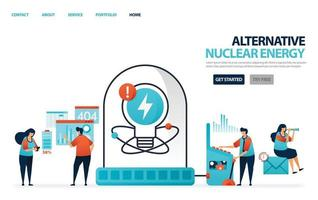 Nuclear alternative energy for electricity. Green energy for better future. Laboratory or lab for scientists to research data charging lithium battery. Human illustration for website, mobile, poster