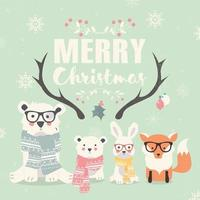 Merry Christmas lettering with hipster polar bears, fox and rabbit vector