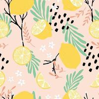 Fruit seamless pattern, lemons with branches, leaves and flowers vector
